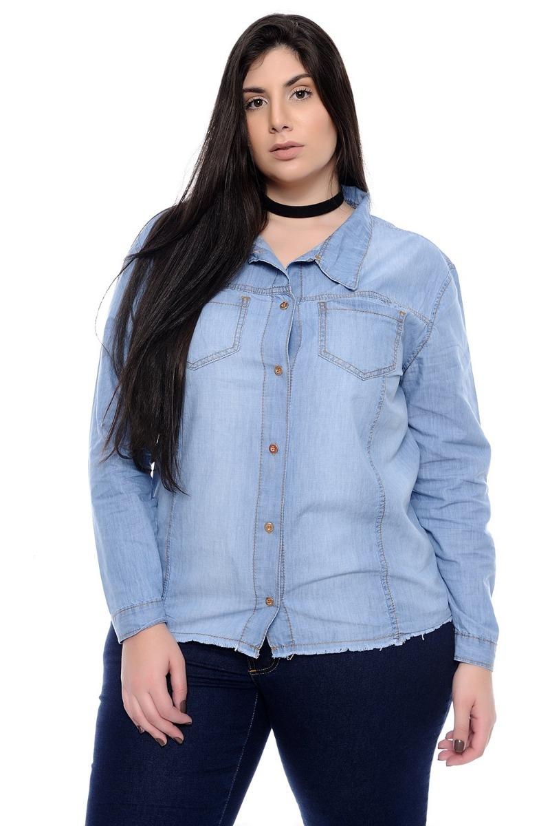 94cd92efa689e4 camisa jeans feminina azul claro barra desfiada plus size. Carregando zoom.