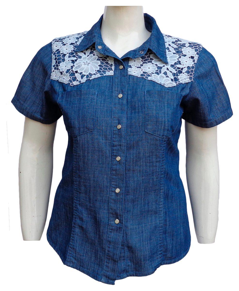 3f693d9b9 Camisa Jeans Feminina C  Detalhe De Guipir- Tamanhos P Ao G3 - R ...