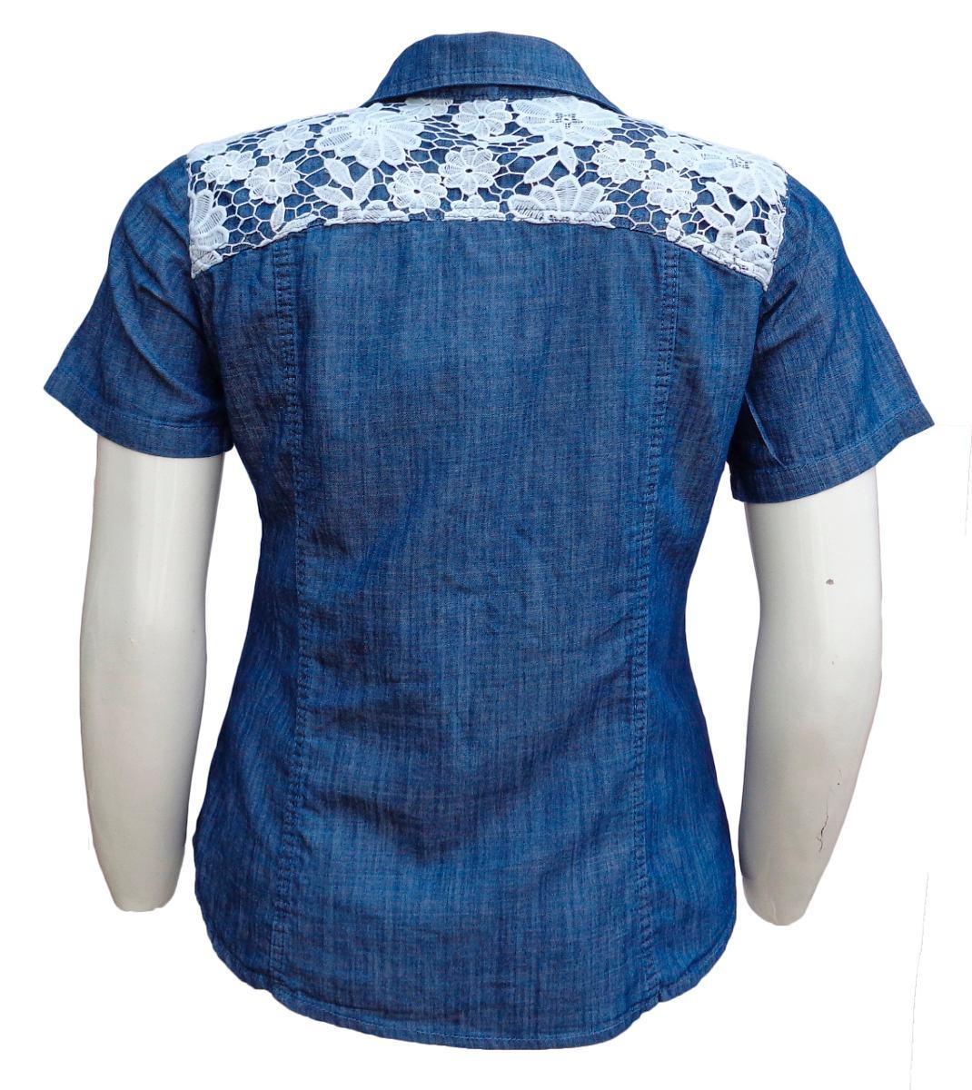 camisa jeans feminina c  detalhe de guipir- tamanhos p ao g3. Carregando  zoom. 2a428362d1c0d