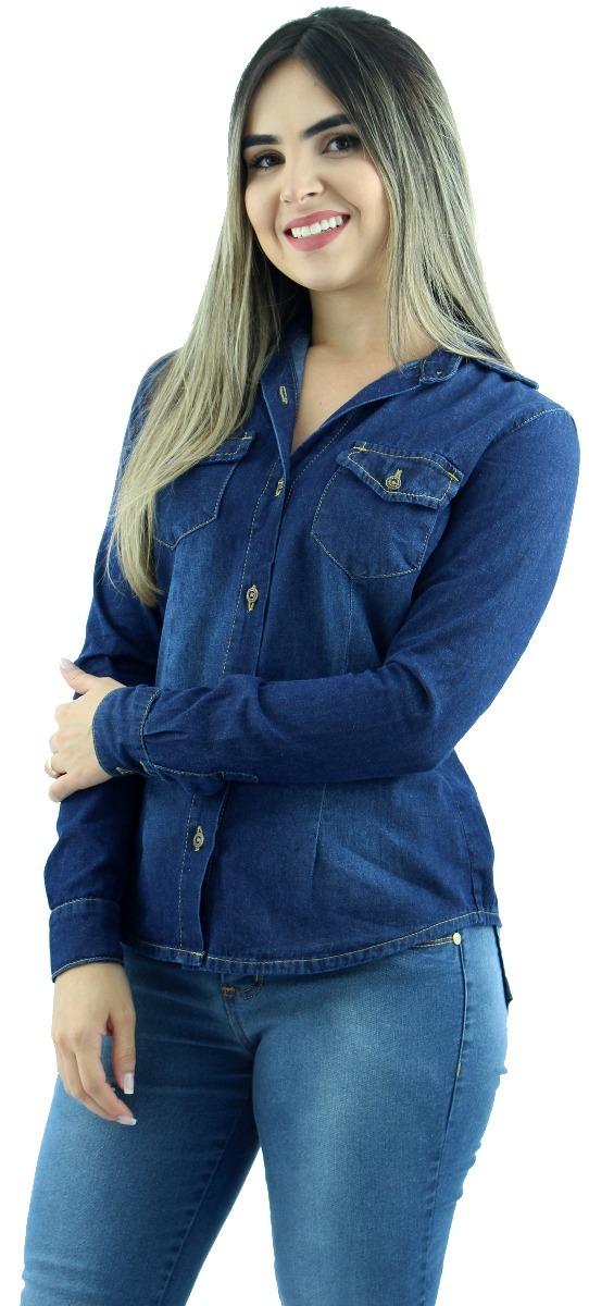 9dec89888 camisa jeans feminina casual social gola wing manga longa. Carregando zoom.