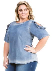 4d45f6d1cb Camisa Jeans Feminina Principessa - Blusas Femininas Curta com o ...