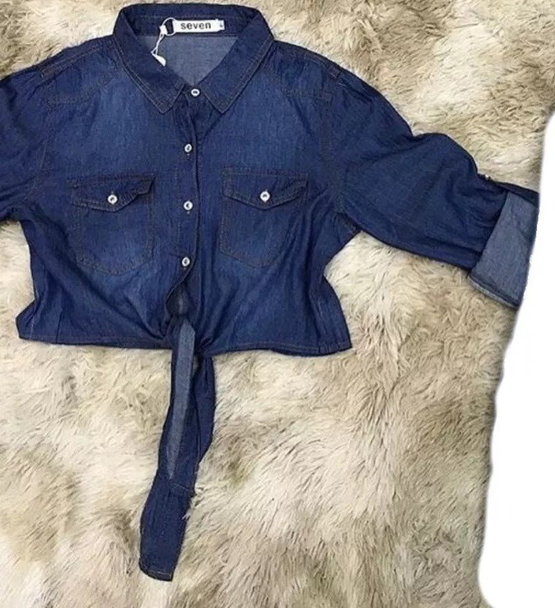 63388388b7 camisa jeans feminina curta de amarrar na frente. Carregando zoom.