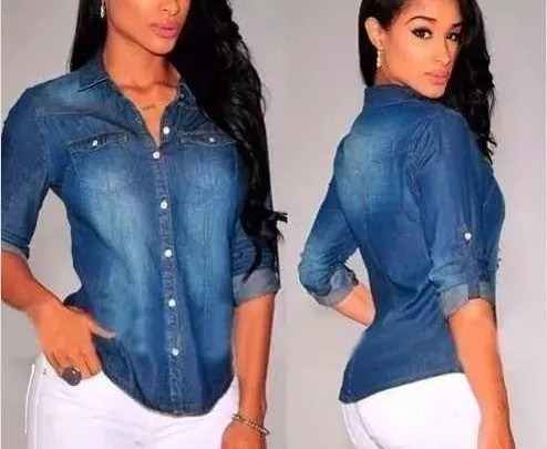 camisa jeans feminina, degrade, floral, lisa, corações, pron