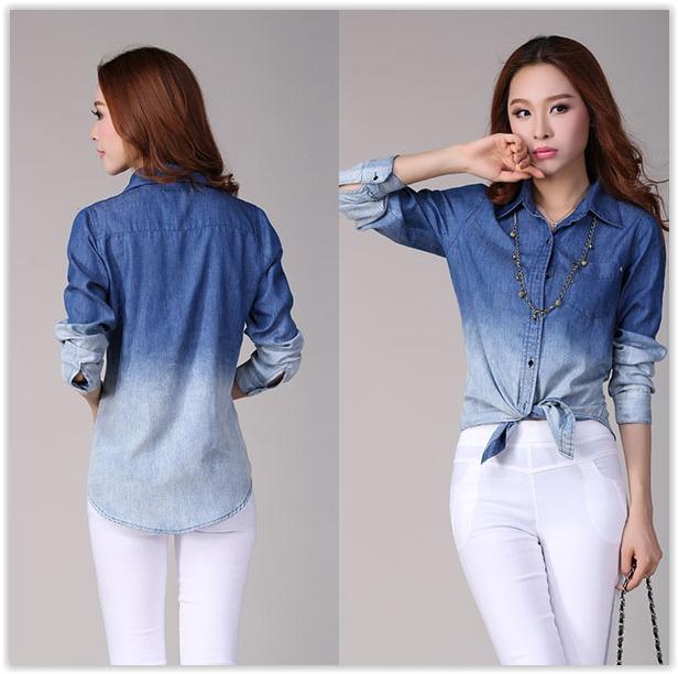 5b3557e1d0 Camisa Jeans Feminina Degrade - Pronta Entrega - R  50