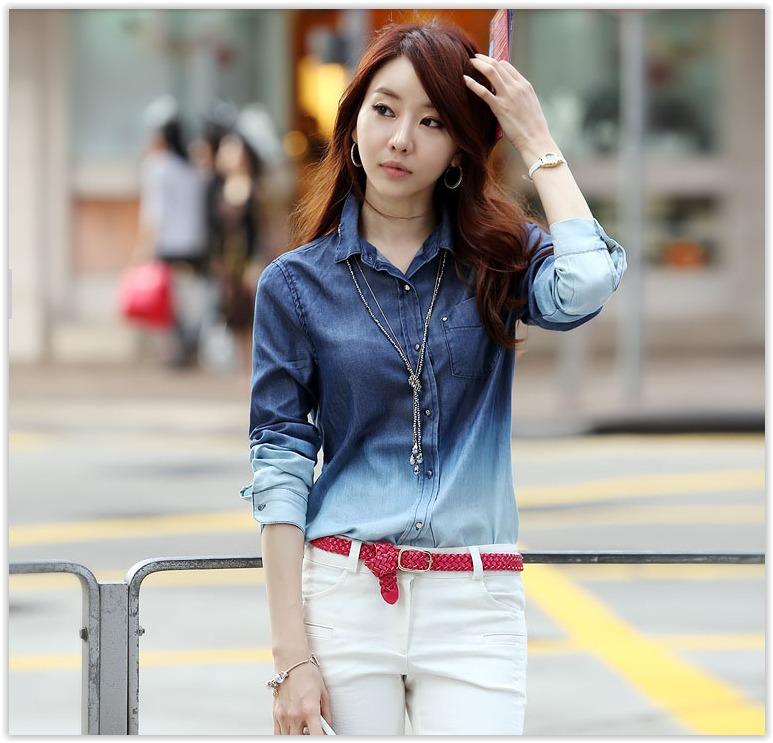 bcf8384ccb Camisa Jeans Feminina Degrade - Pronta Entrega - R$ 50,00 em Mercado ...