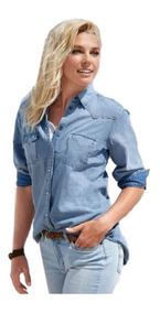 6e86329e2890ba Camisa Jeans Feminina Degrade Social Manga Longa Blogueiras