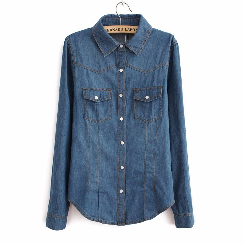 ef9ff1ca8b camisa jeans feminina escura frete gratis. Carregando zoom.