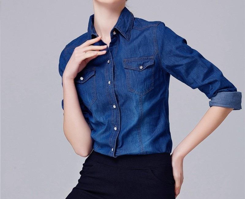 5bd7ecfa88 camisa jeans feminina fashion escuro preço atacado. Carregando zoom.
