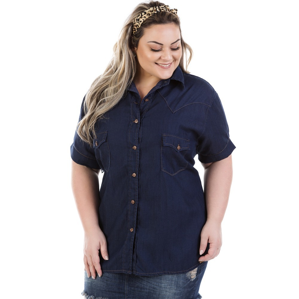 camisa jeans feminina judy manga curta plus size bvm207. Carregando zoom. 37eeca447161a
