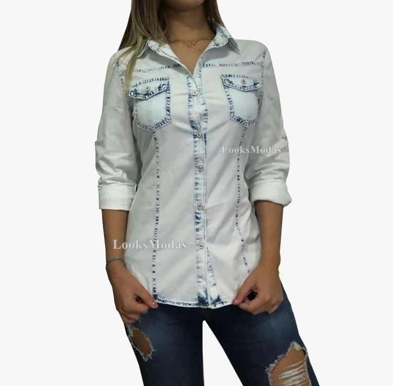 a0019306ac Camisa Jeans Feminina Kit 2 Peças Moda Oferta Frete Gratis - R$ 140 ...