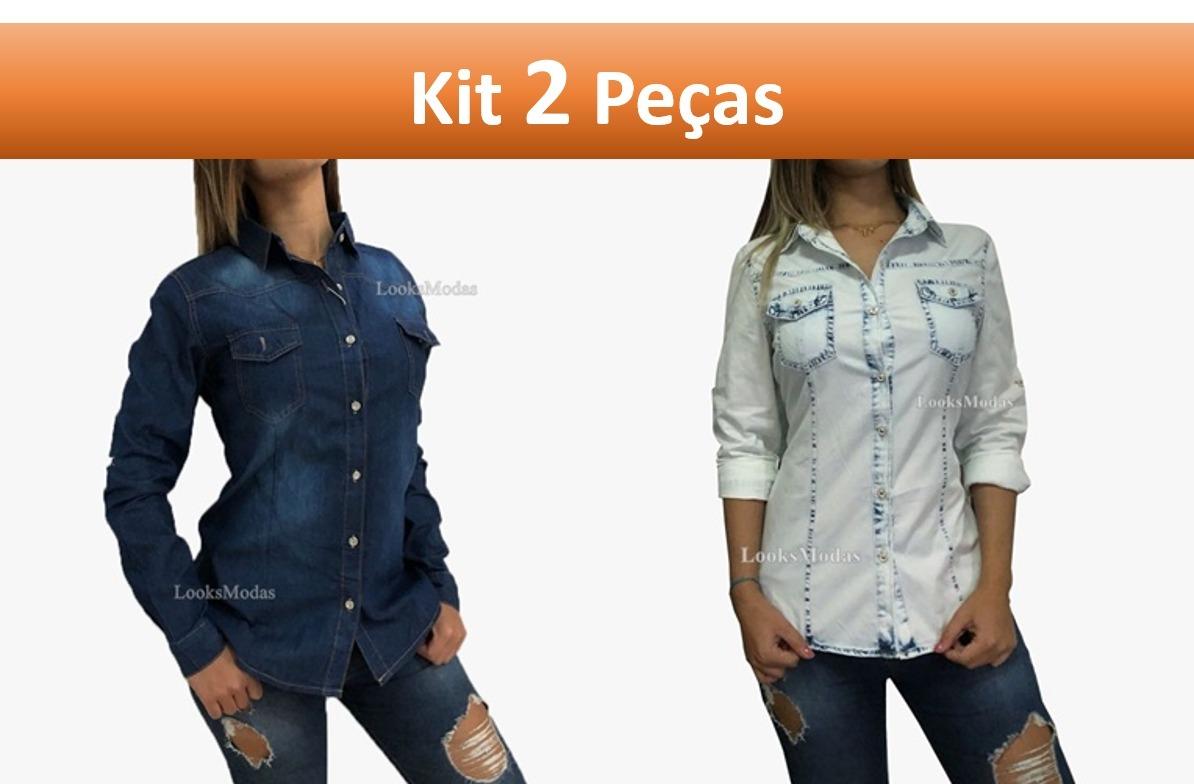 27dc41c583 camisa jeans feminina kit 2 peças moda oferta frete gratis. Carregando zoom.