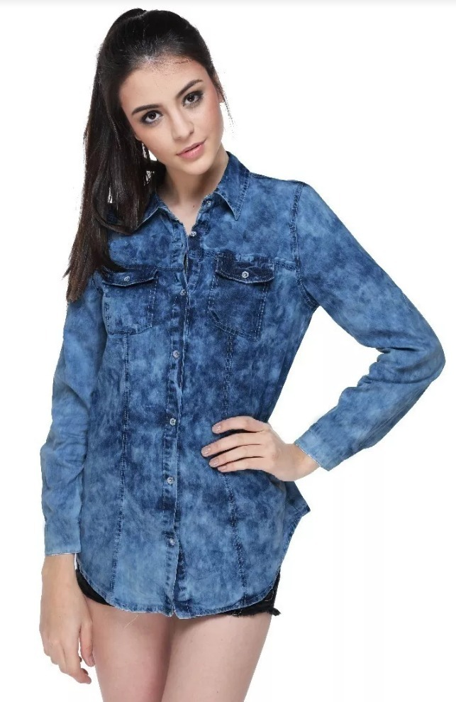 675ea35eef camisa jeans feminina manchada - outono inverno 2018. Carregando zoom.