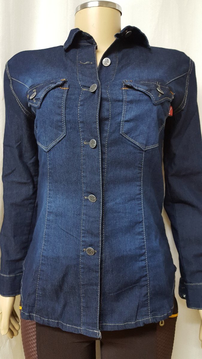 1f253a26fb camisa jeans feminina manga longa acinturada azul com bolso. Carregando  zoom.