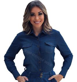 4e671dff5aaf Camisa Jeans Feminina Manga Curta Plus Size - Calçados, Roupas e ...