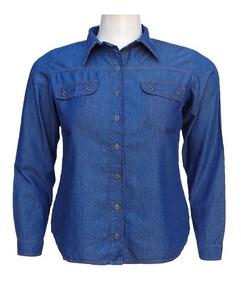 429abcb599cea0 Camisa Jeans Feminina Manga Longa Bolsos Falsos Plus Size