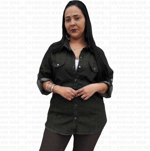 825fd74a75 Camisa Jeans Feminina Manga Longa Moda Plus Size 46 48 50 - R  80