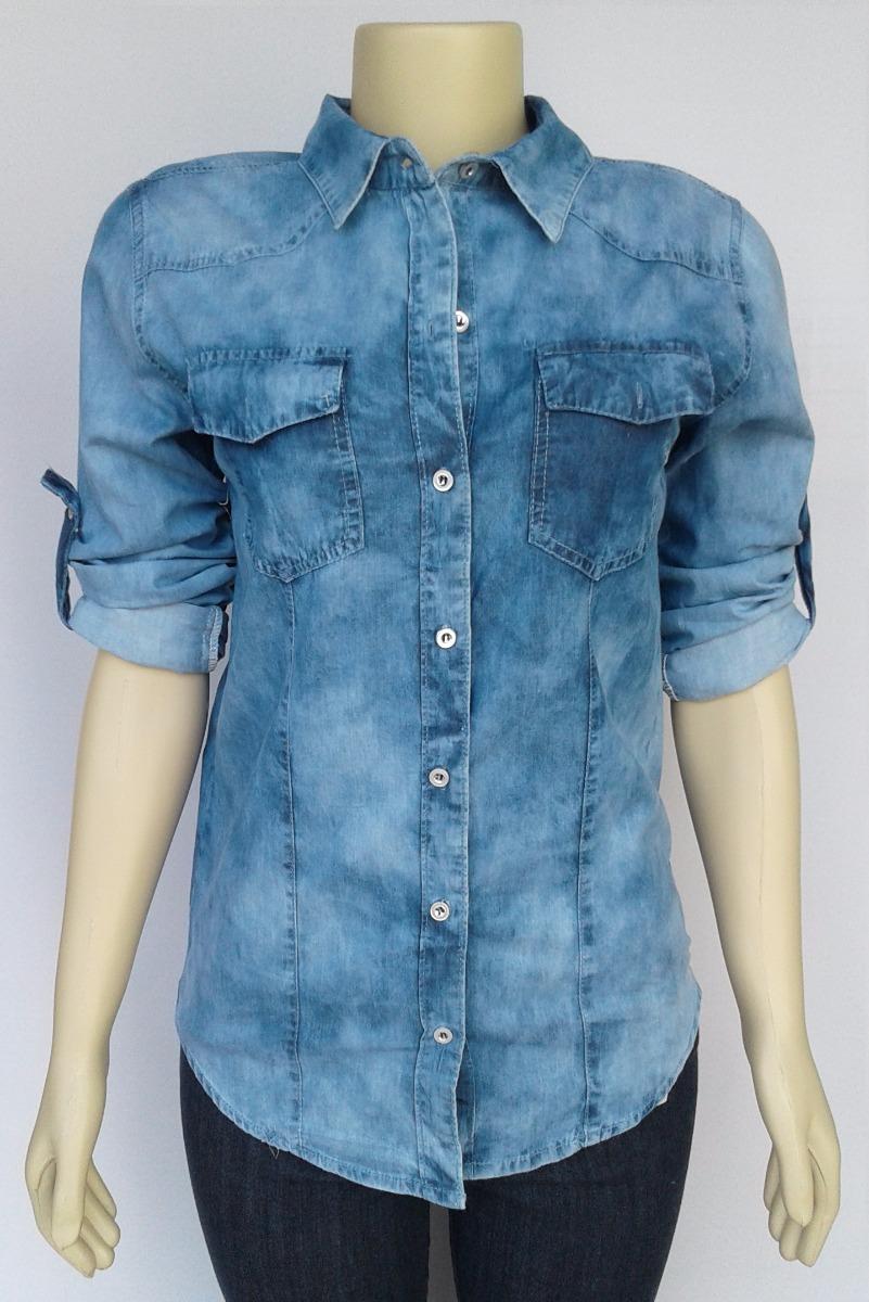 667cfb1c4 camisa jeans feminina mesclado claro manchado atacado. Carregando zoom.