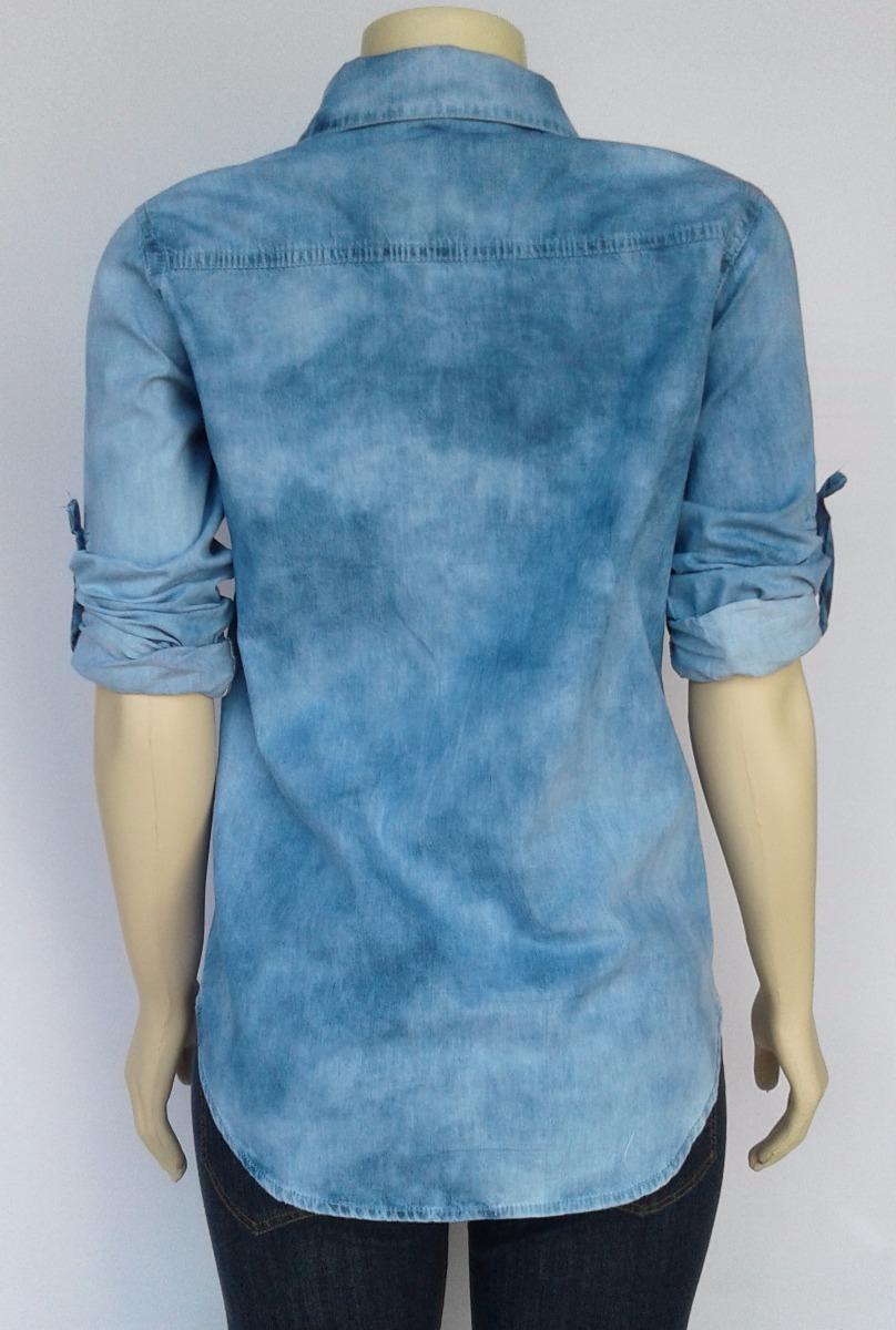 e0cfccc516 camisa jeans feminina mesclado claro manchado atacado. Carregando zoom.