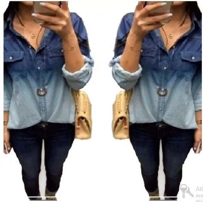 16d95ee26c Camisa Jeans Feminina Moda Mulher Moça Garota Fashion+brinde - R$ 58 ...