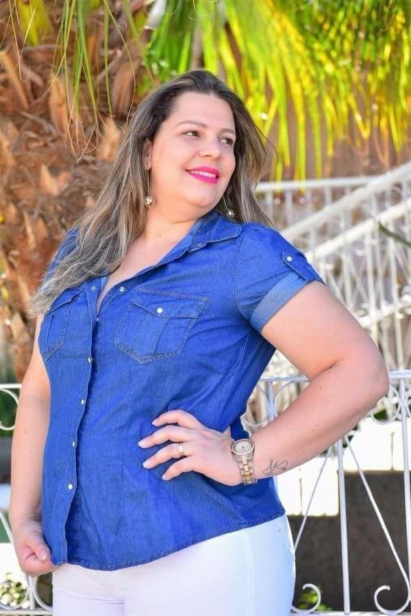 5496a986065fd2 Camisa Jeans Feminina Plus Size Barata C/ Martingale