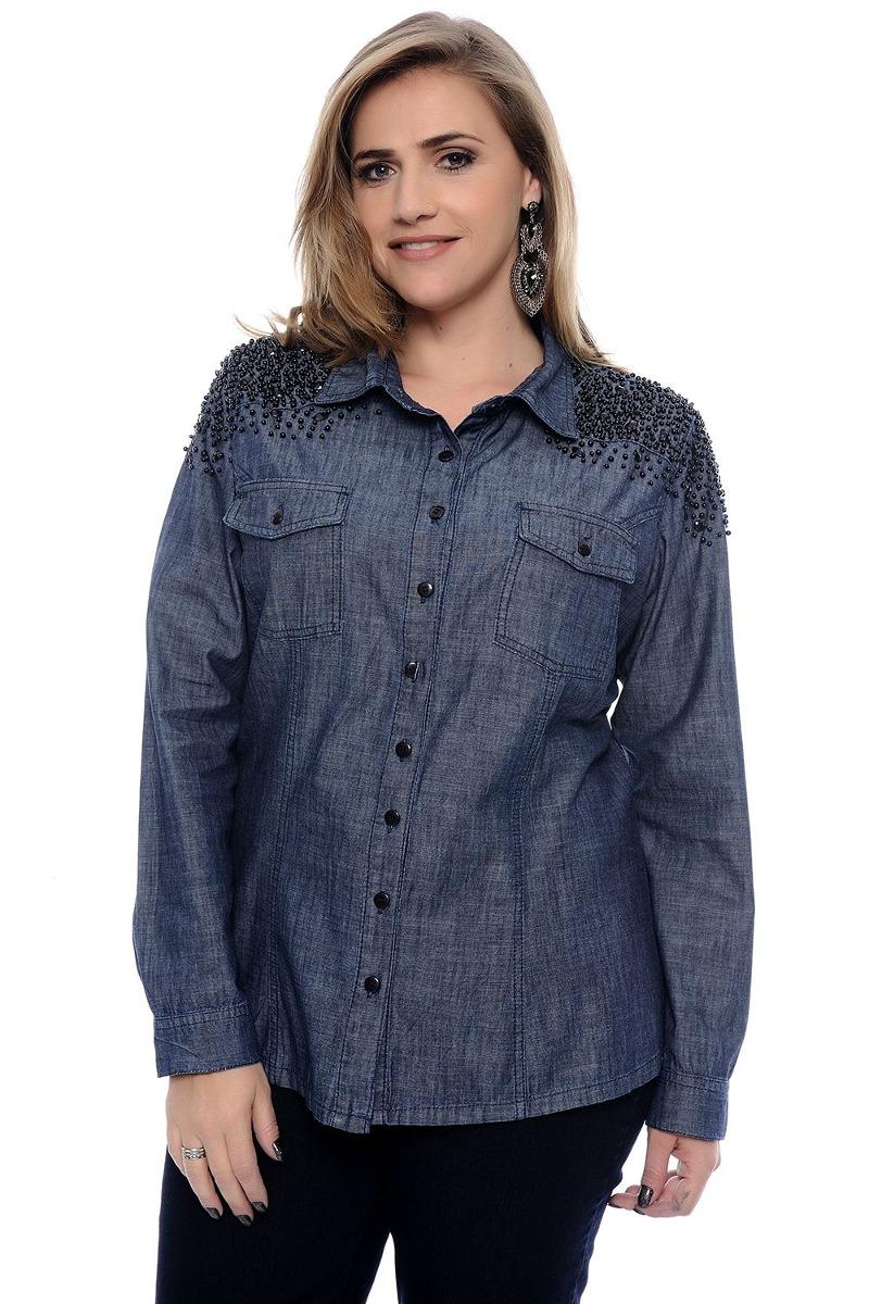 daccda25d33a Camisa Jeans Feminina Plus Size Frete Grátis - R$ 219,99 em Mercado ...