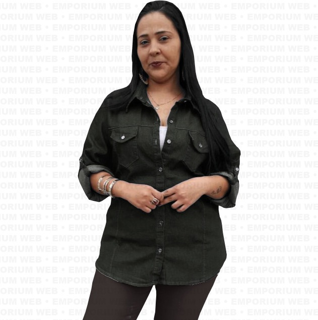 2a520ccb5f Camisa Jeans Feminina Plus Size G1 G2 G3 Mulher Poderosa Vip - R  80 ...