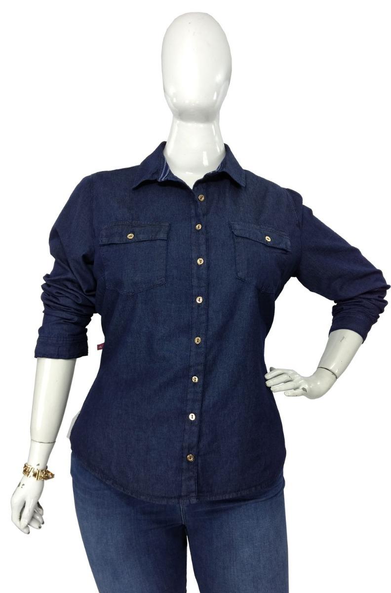 59f5e1ce75 camisa jeans feminina plus size manga longa roupas femininas. Carregando  zoom.
