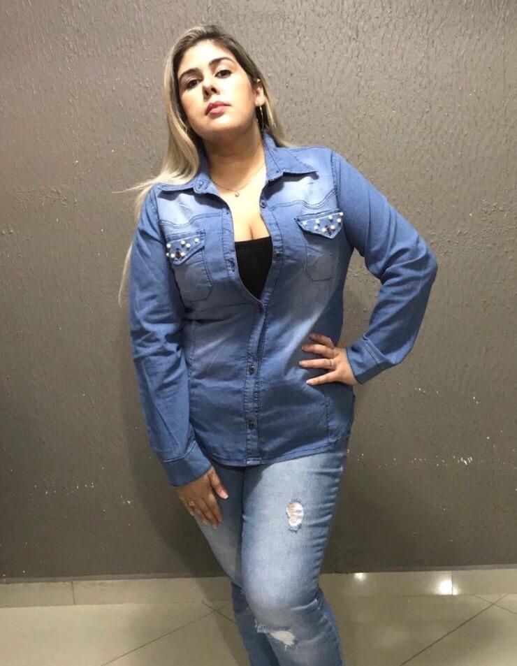 f16778d281 camisa jeans feminina plus size tamanho grande. Carregando zoom.