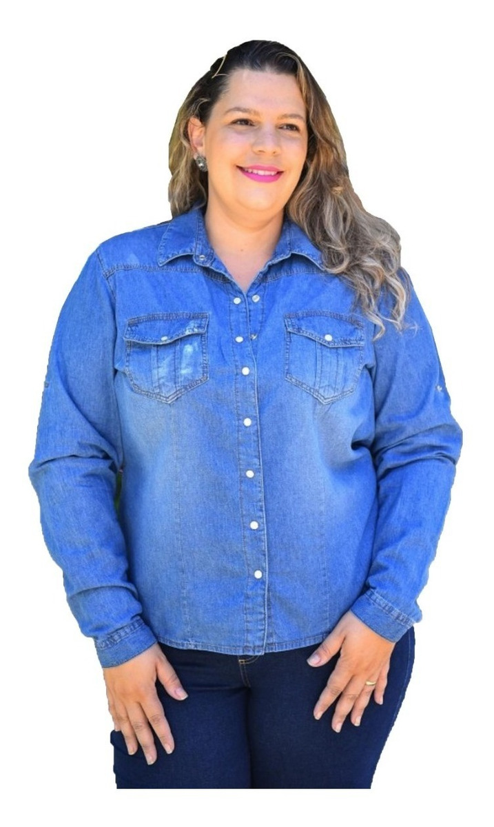 979b11f51ae7 Camisa Jeans Feminina Plus Size Veste Até 60 - R$ 124,99 em Mercado ...