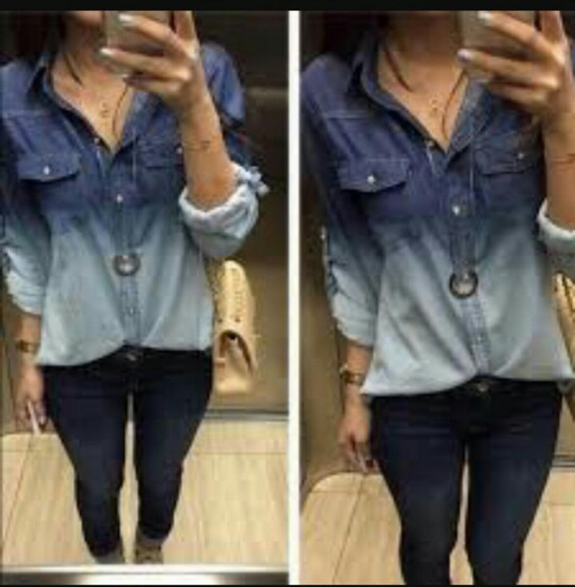 ecd357feeb camisa jeans feminino degrade duas cores. Carregando zoom.