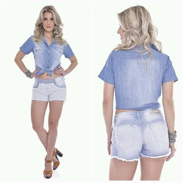 b42e903f0d Camisa Jeans Feminino Manga Curta - Frete Grátis - R$ 89,90 em Mercado Livre