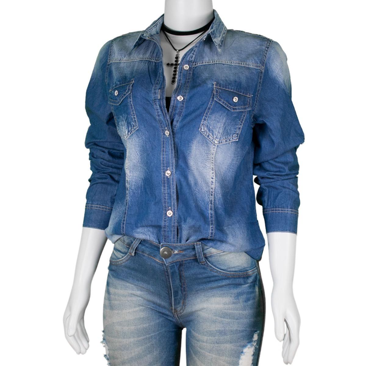 178e5e29aa camisa jeans feminino manga longa kit 3un atacado. Carregando zoom.