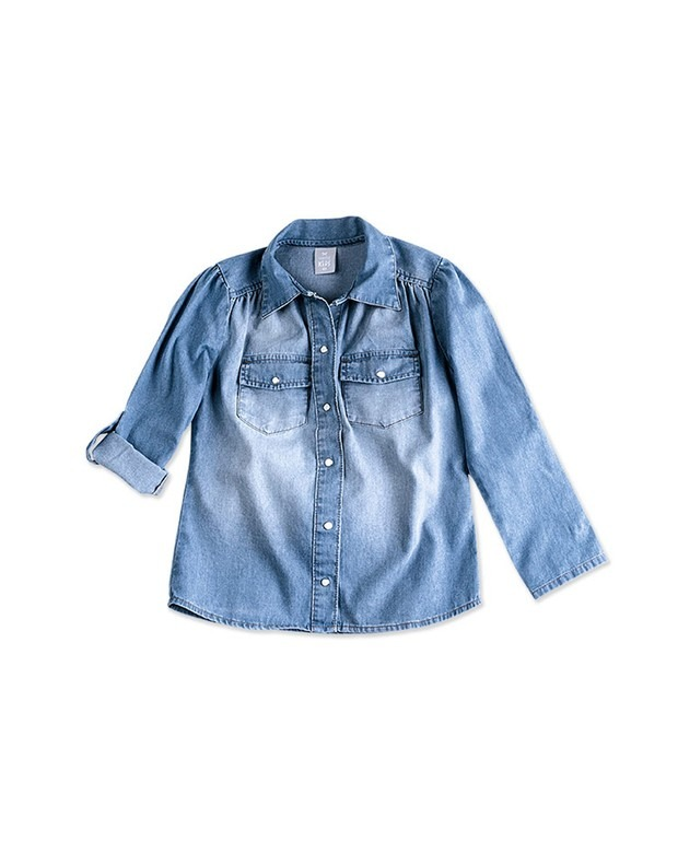 ad133ec9b Camisa Jeans Infantil Feminina Hering Kids Manga Longa - R  99