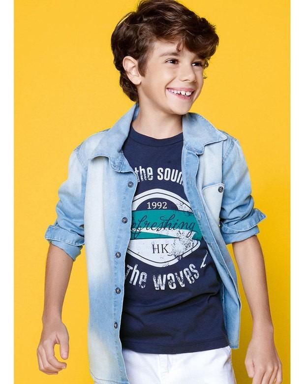 Camisa Jeans Infantil Masculina Hering Kids Manga Longa - R  98 a73b7364259