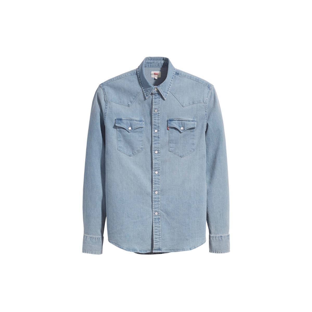 c76f5c37dc camisa jeans levis classic western lavagem clara. Carregando zoom.