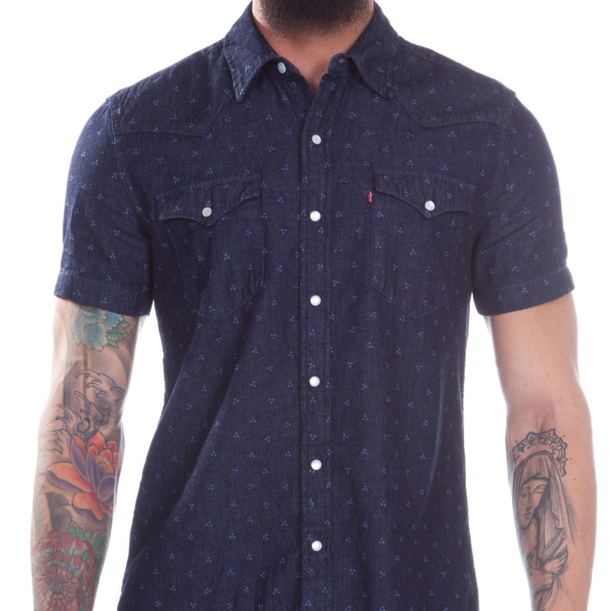 94d5dd1639 camisa jeans levis masc short sleeve classic western escuro. Carregando  zoom.