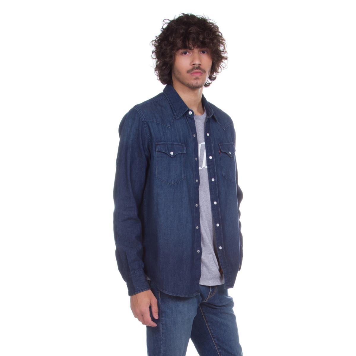 03273a8bfc camisa jeans levis masculina classic western indigo. Carregando zoom.