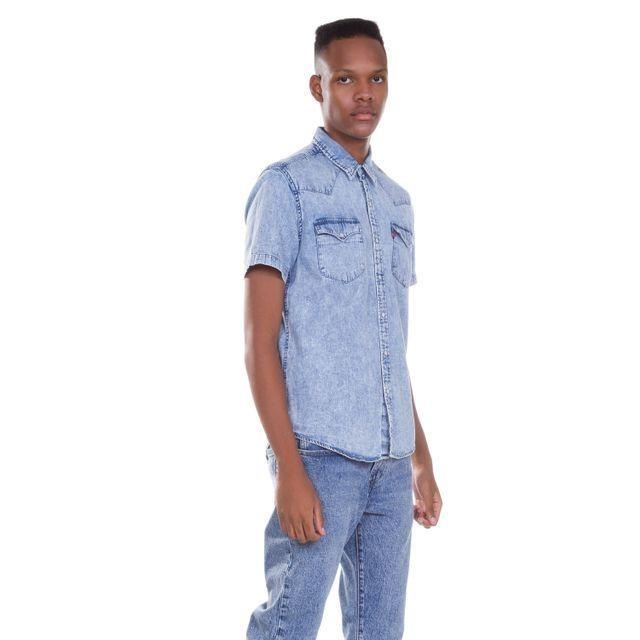 c5f1b3d08b Camisa Jeans Levis Short Sleeve Classic Western Lavagem - R  124
