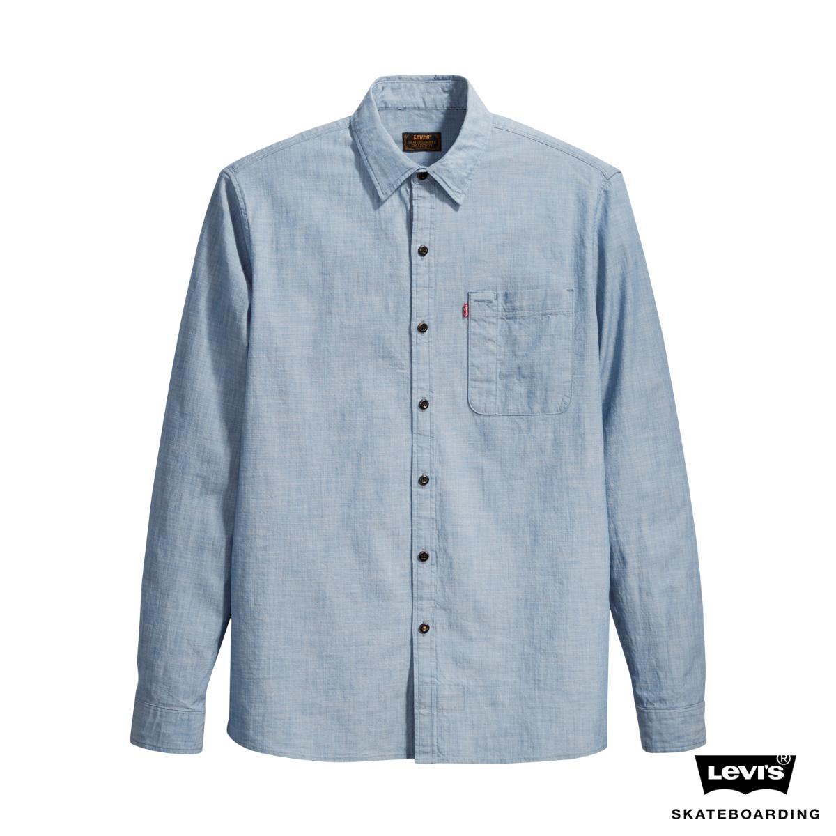 camisa jeans levis skateboarding riveter azul claro. Carregando zoom. f540c702f29
