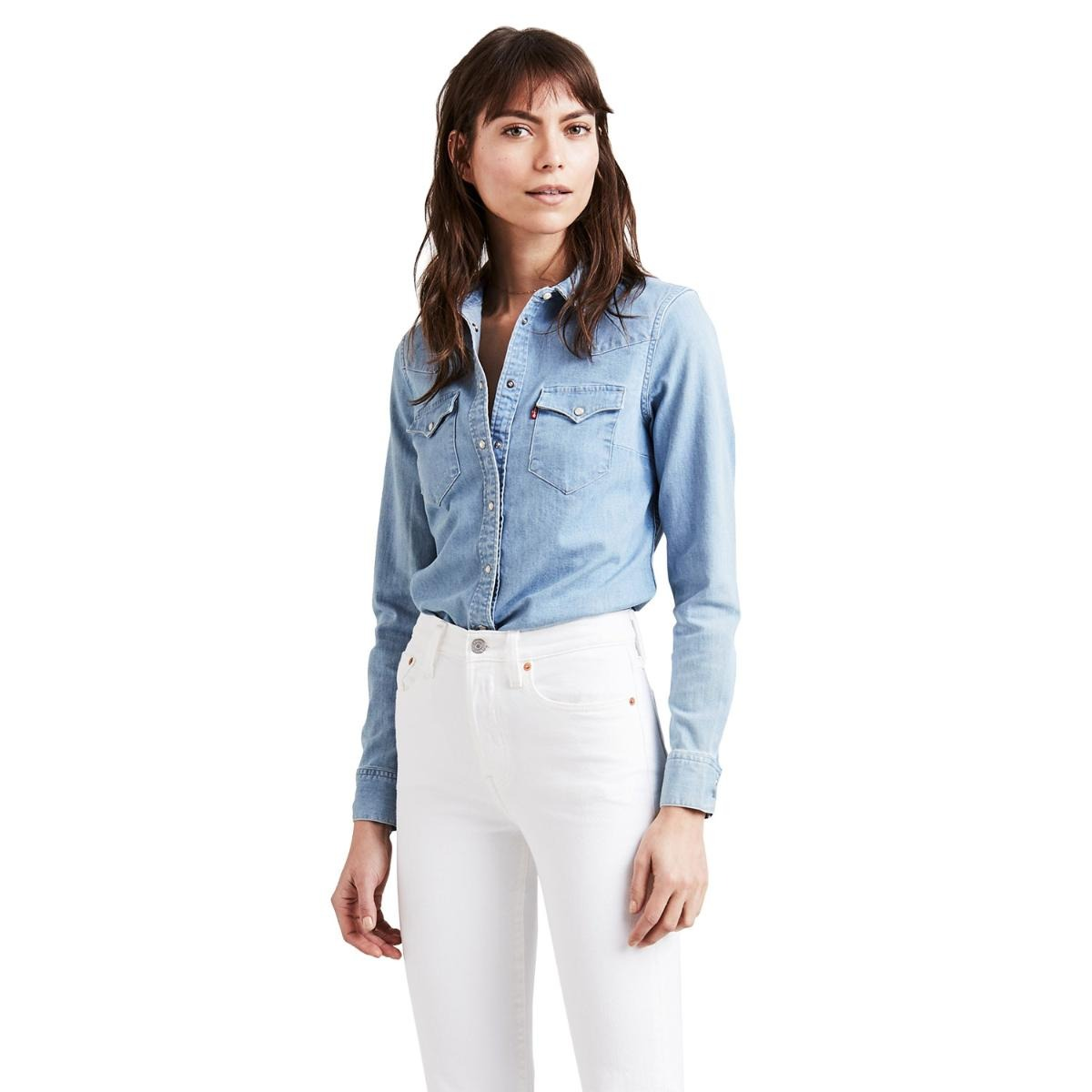 dc4b7afaba camisa jeans levis tailored classic western lavagem clara. Carregando zoom.