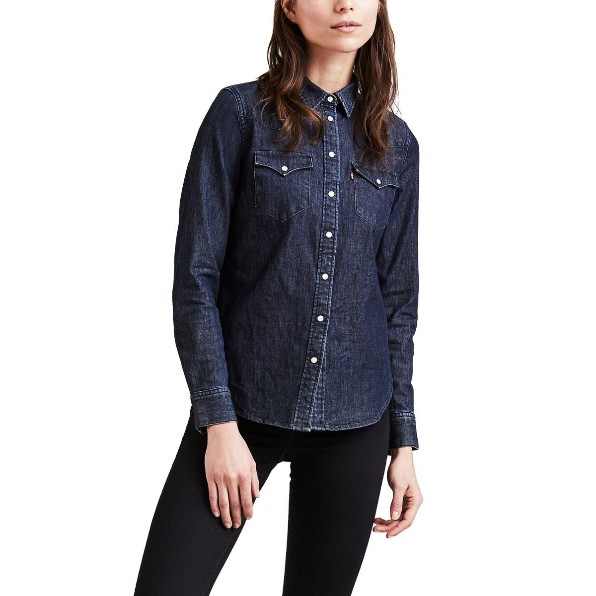 842792f77a camisa jeans levis tailored classic western lavagem escura. Carregando zoom.