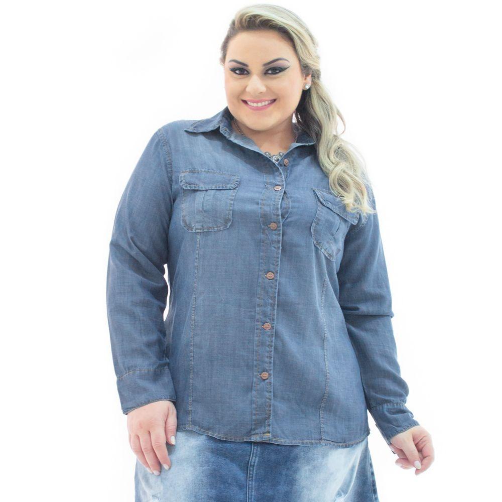 e166be4d34c2 Camisa Jeans Manga Longa Com Bolsos Plus Size Cmi051 - R$ 199,90 em ...
