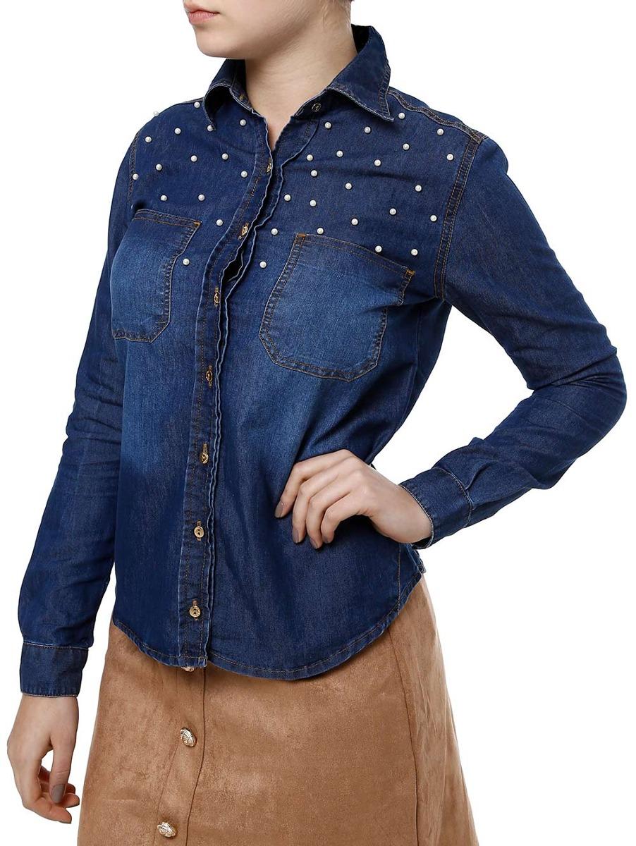1d2e60676 Camisa Jeans Manga Longa Feminina Uber Azul - R$ 99,90 em Mercado Livre