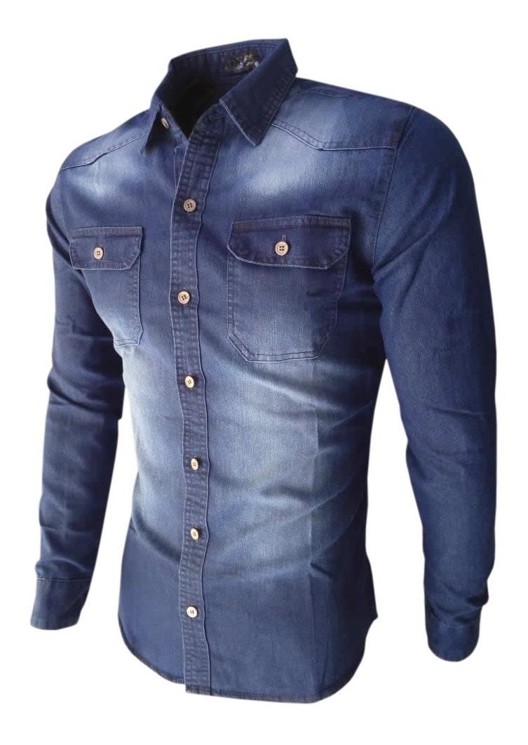 90ecbd9dea camisa jeans masculina slim fit social nacional manga longa. Carregando  zoom.
