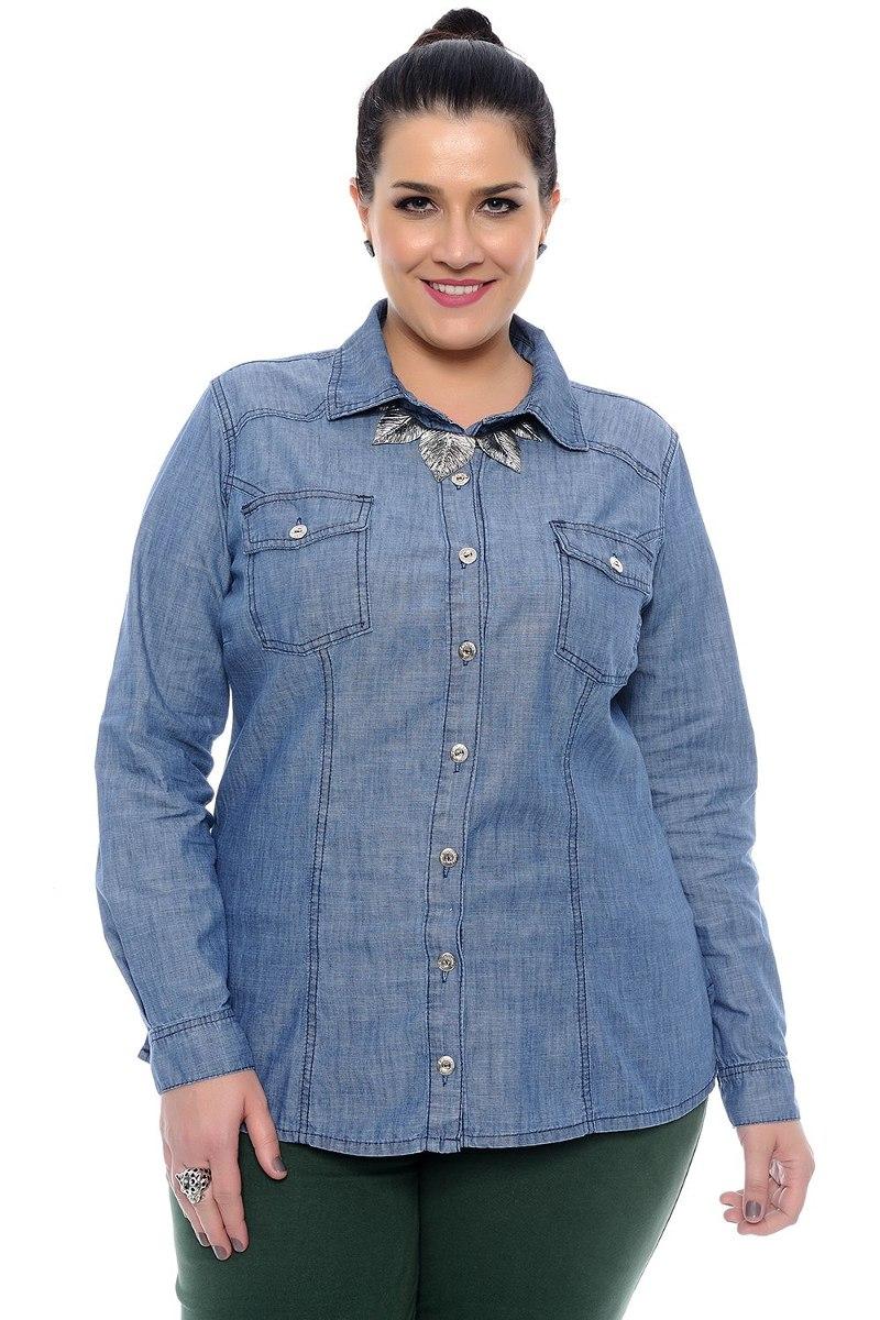 2e6f8de3e3d8 Camisa Jeans Plus Size Básica - R$ 149,99 em Mercado Livre