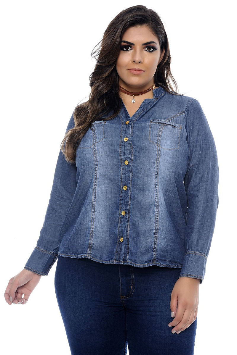 46b785ae6b8f Camisa Jeans Plus Size Louisiana - R$ 301,14 em Mercado Livre