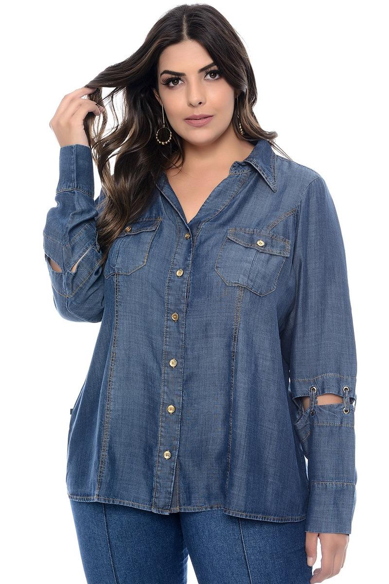 90a0ae593ef4 Camisa Jeans Plus Size Passione - R$ 329,55 em Mercado Livre