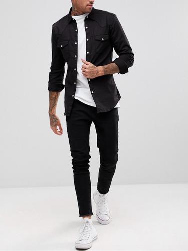 camisa jeans premium masculina  super slim fit preta offert