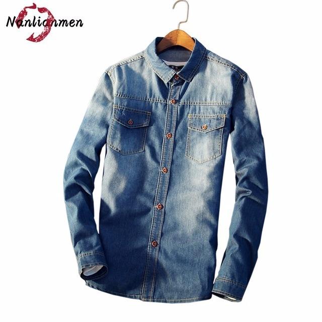 16026ec4dc Camisa Jeans Slim Fit Casual Manga Longa Dois Bolsos - R  120