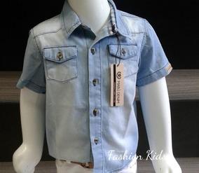 0a94967995 Camisa Jeans Social Bebê Infantil Menino 1 A 18 Meses